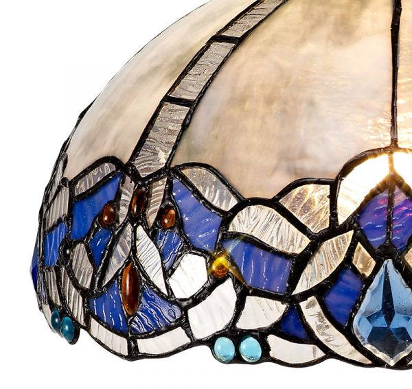 Lichfield Lighting Oricle, Tiffany 30cm Non-electric Shade Suitable For Pendant/Ceiling/Table Lamp, Blue/Clear Crystal photo 2
