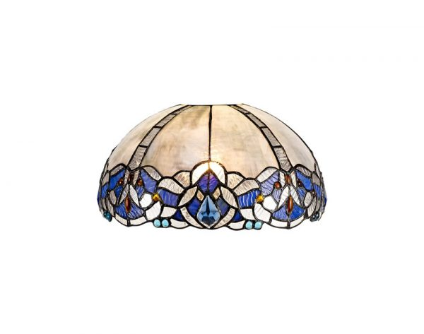 Lichfield Lighting Oricle, Tiffany 30cm Non-electric Shade Suitable For Pendant/Ceiling/Table Lamp, Blue/Clear Crystal photo 1