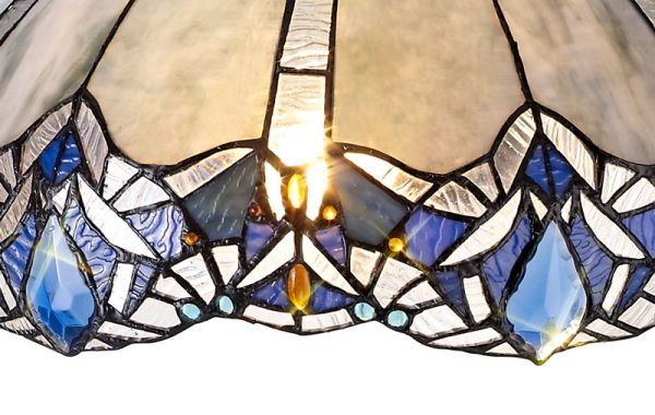 Lichfield Lighting Oricle, Tiffany 40cm Shade Only Suitable For Pendant/Ceiling/Table Lamp, Blue/Clear Crystal photo 3