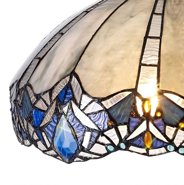 Lichfield Lighting Oricle, Tiffany 40cm Shade Only Suitable For Pendant/Ceiling/Table Lamp, Blue/Clear Crystal photo 2
