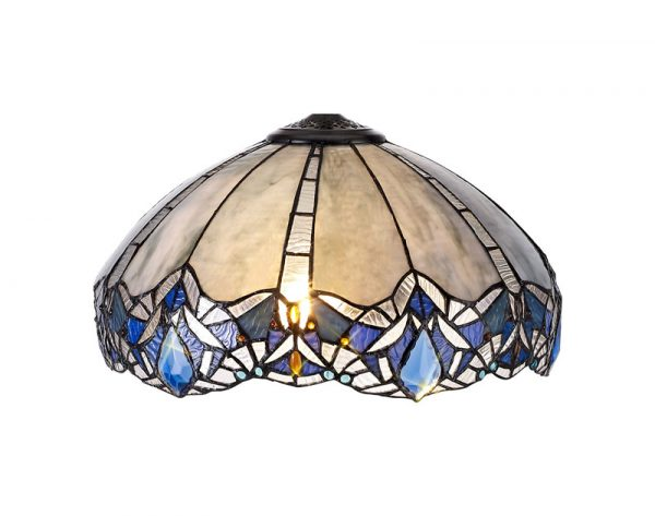 Lichfield Lighting Oricle, Tiffany 40cm Shade Only Suitable For Pendant/Ceiling/Table Lamp, Blue/Clear Crystal photo 1