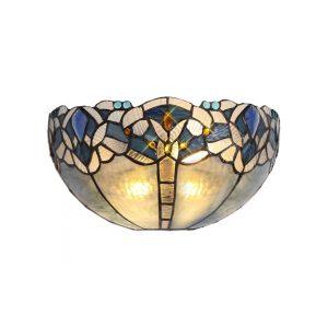 Lichfield Lighting Oricle Tiffany 30cm Wall Lamp, 2 x E14, Blue/Clear Crystal photo 1