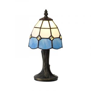 Lichfield Lighting Ormonds Tiffany Table Lamp, 1 x E14, White/Blue/Clear Crystal Shade photo 1