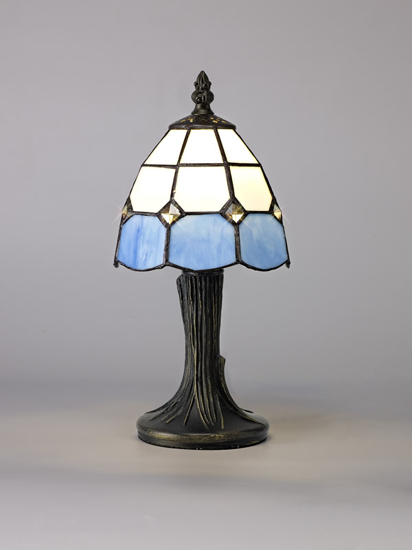 Lichfield Lighting Ormonds Tiffany Table Lamp, 1 x E14, White/Blue/Clear Crystal Shade photo 3
