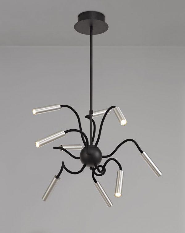 Lichfield Lighting Partridge Sputnik Pendant, 9 Light Adjustable Arms, 9 x 4W LED Dimmable, 3000K, 2250lm, Black/Aluminium, 3yrs Warranty photo 4
