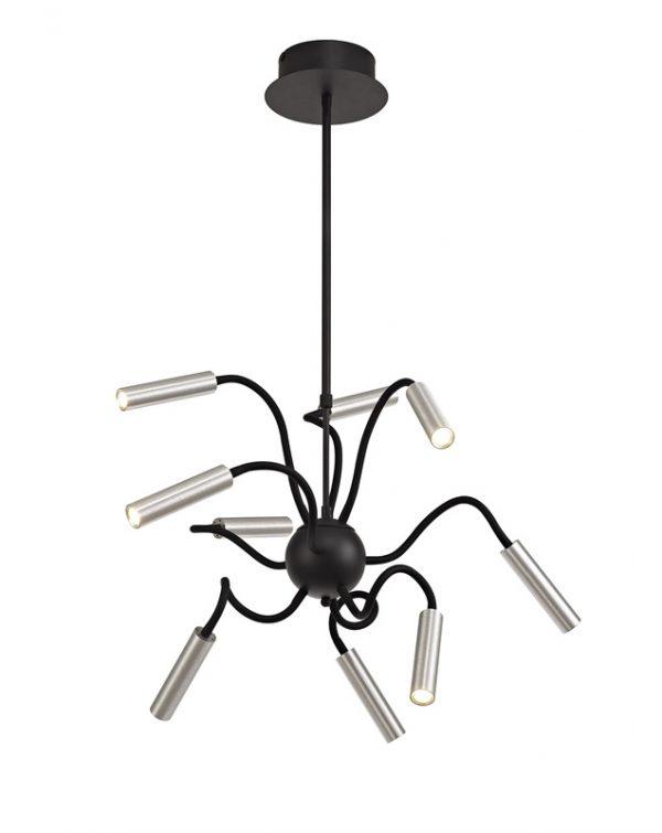 Lichfield Lighting Partridge Sputnik Pendant, 9 Light Adjustable Arms, 9 x 4W LED Dimmable, 3000K, 2250lm, Black/Aluminium, 3yrs Warranty photo 1