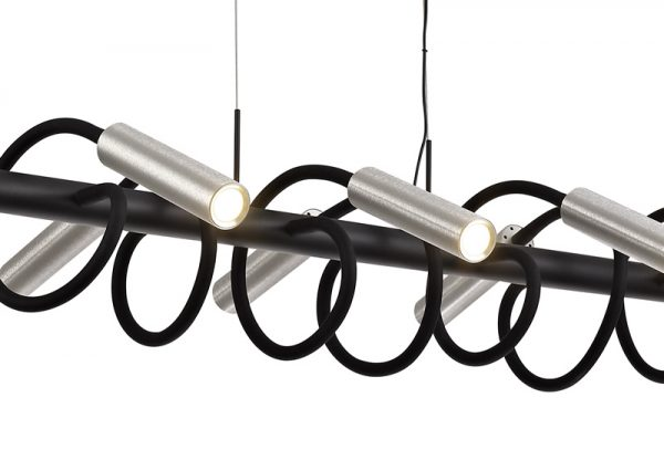 Lichfield Lighting Partridge Linear Pendant, 8 Light Adjustable Arms, 8 x 4W LED Dimmable, 3000K, 2000lm, Black/Aluminium, 3yrs Warranty photo 2