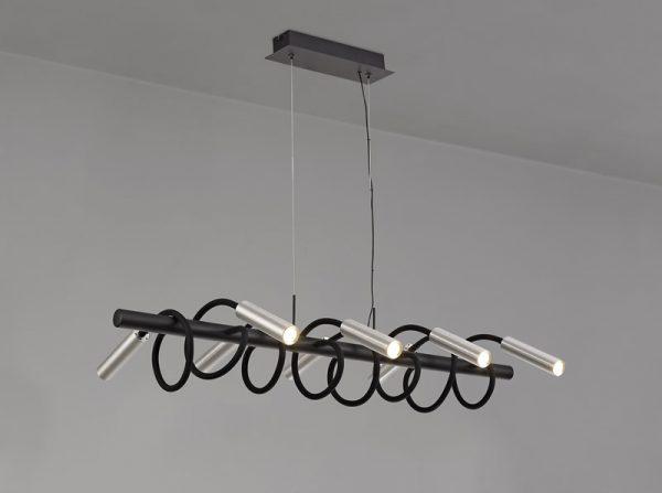 Lichfield Lighting Partridge Linear Pendant, 8 Light Adjustable Arms, 8 x 4W LED Dimmable, 3000K, 2000lm, Black/Aluminium, 3yrs Warranty photo 3