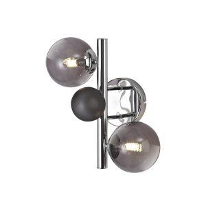Lichfield Lighting Reynolds Wall Lamp, 2 x G9, Polished Chrome/Smoked Glass photo 1