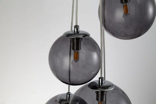 Lichfield Lighting Reynolds Pendant, 5 x G9, Polished Chrome/Smoked Glass photo 4