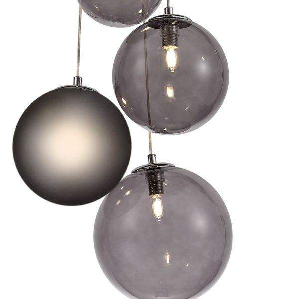 Lichfield Lighting Reynolds Pendant, 5 x G9, Polished Chrome/Smoked Glass photo 3