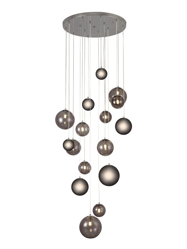 Lichfield Lighting Reynolds Pendant, 16 x G9, Polished Chrome/Smoked Glass photo 1