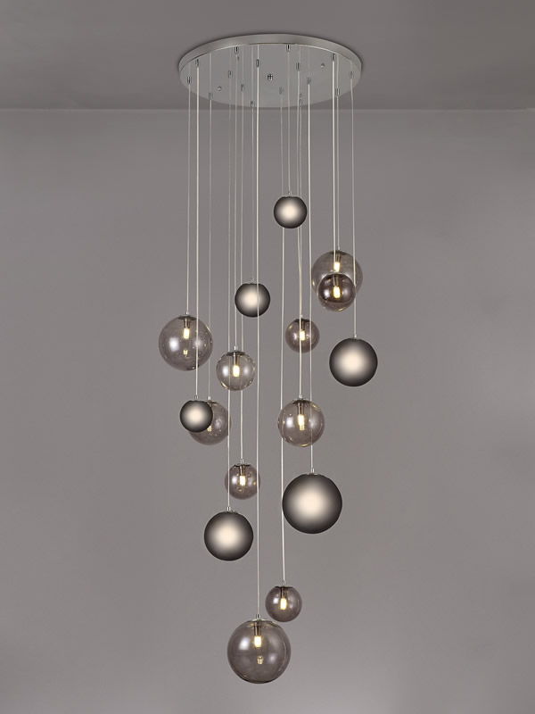 Lichfield Lighting Reynolds Pendant, 16 x G9, Polished Chrome/Smoked Glass photo 4