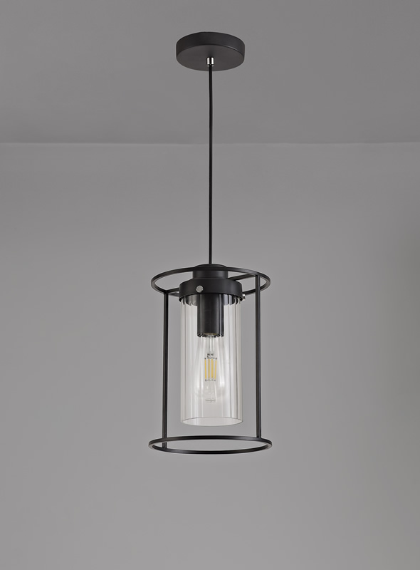 Lichfield Lighting Rocklands Single Pendant, 1 Light E27, Black/Clear Glass photo 3