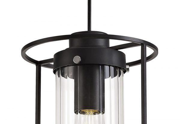 Lichfield Lighting Rocklands Single Pendant, 1 Light E27, Black/Clear Glass photo 2