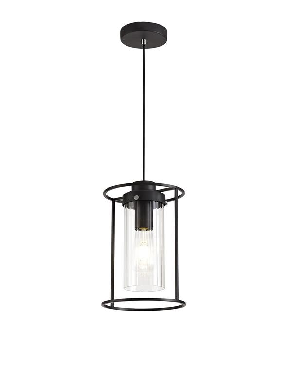 Lichfield Lighting Rocklands Single Pendant, 1 Light E27, Black/Clear Glass photo 1