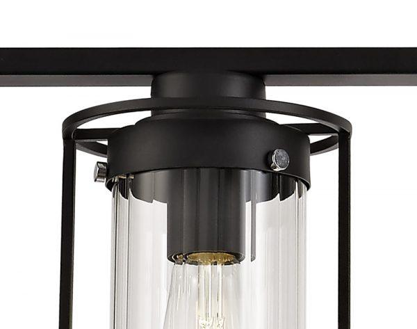 Lichfield Lighting Rocklands Linear Pendant, 3 Light E27, Black/Clear Glass photo 2