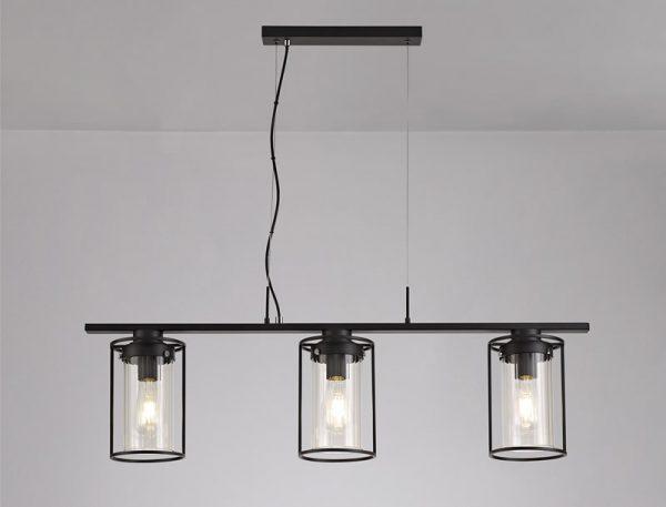 Lichfield Lighting Rocklands Linear Pendant, 3 Light E27, Black/Clear Glass photo 4