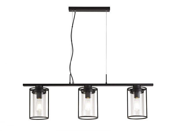 Lichfield Lighting Rocklands Linear Pendant, 3 Light E27, Black/Clear Glass photo 1