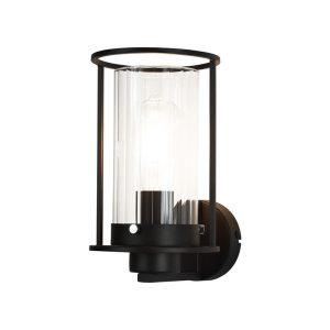 Lichfield Lighting Rocklands Wall Light, 1 Light E27, Black/Clear Glass photo 1