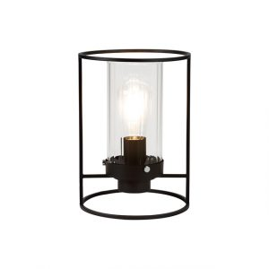 Lichfield Lighting Rocklands Table Lamp, 1 Light E27, Black/Clear Glass photo 1