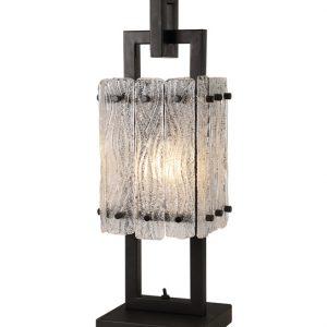 Lichfield Lighting Sagincourt Table Lamp, 1 Light E27, Matt Black/Crystal Sand Glass photo 1