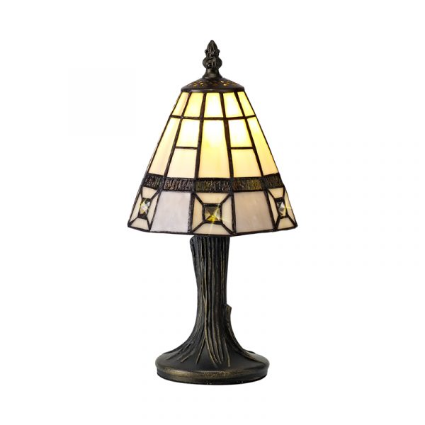 Lichfield Lighting Scott Tiffany Table Lamp, 1 x E14, Credlock/Grey/Clear Crystal Shade photo 1