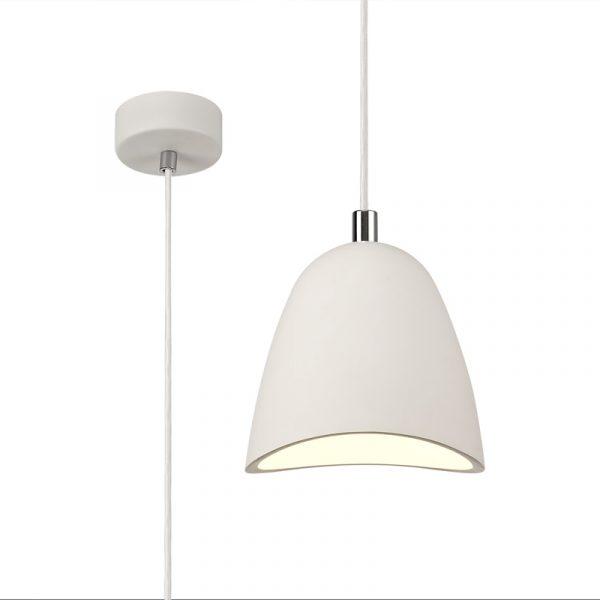Lichfield Lighting Seward Medium Pendant, 1 x E27, White Paintable Gypsum photo 1