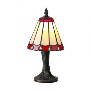 Lichfield Lighting St John Tiffany Table Lamp, 1 x E14, Credlock/Red/Clear Crystal Shade photo 1