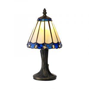 Lichfield Lighting St John Tiffany Table Lamp, 1 x E14, Credlock/Blue/Clear Crystal Shade photo 1