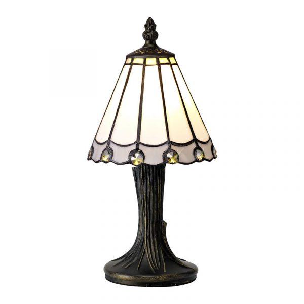 Lichfield Lighting St John Tiffany Table Lamp, 1 x E14, White/Grey/Clear Crystal Shade photo 1