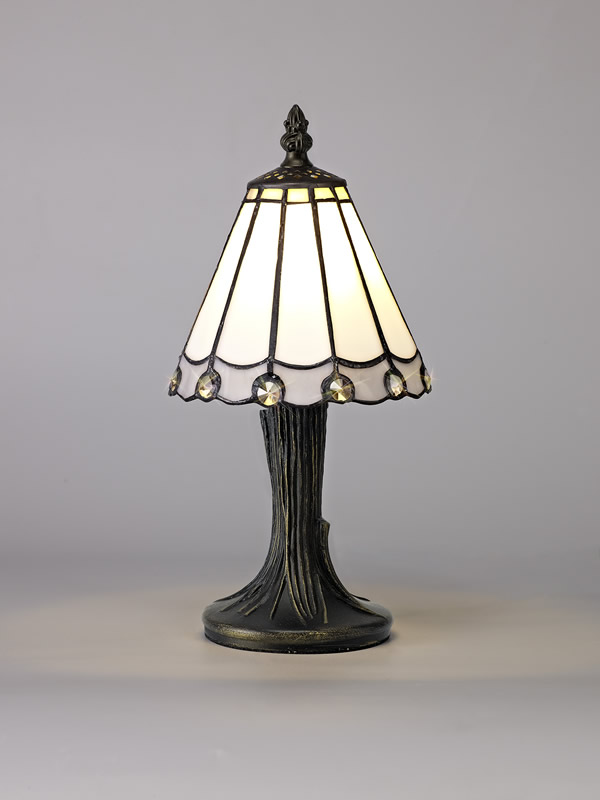 Lichfield Lighting St John Tiffany Table Lamp, 1 x E14, White/Grey/Clear Crystal Shade photo 3