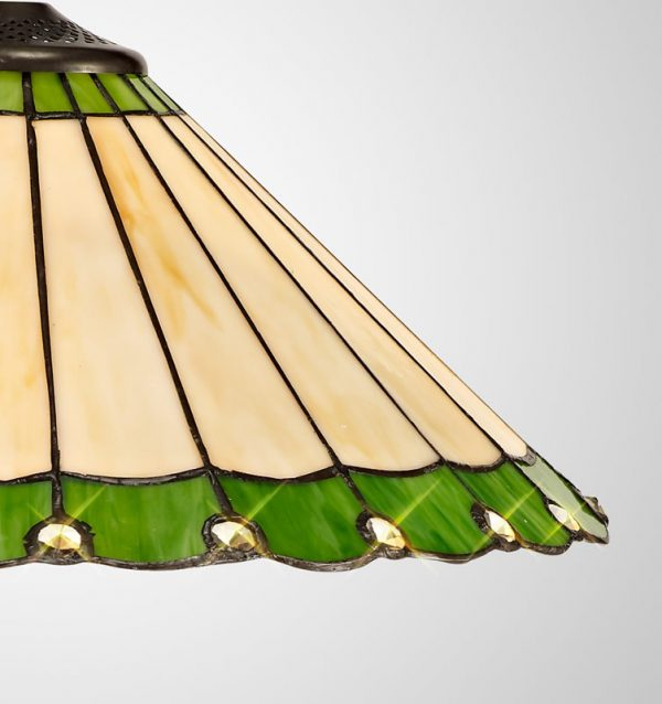 Lichfield Lighting St John Tiffany 40cm Shade Only Suitable For Pendant/Ceiling/Table Lamp, Green/Credlock/Crystal photo 2