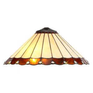ichfield Lighting St John Tiffany 40cm Shade Only Suitable For Pendant/Ceiling/Table Lamp, Amber/Credlock/Crystal photo 1