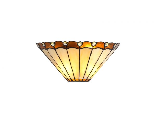 Lichfield Lighting St John Tiffany Wall Lamp, 2 x E14, Amber/Credlock/Crystal photo 1