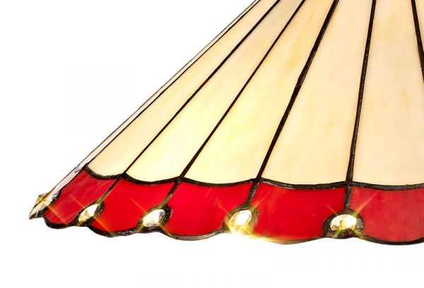 Lichfield Lighting St John Tiffany 40cm Shade Only Suitable For Pendant/Ceiling/Table Lamp, Red/Credlock/Crystal photo 2