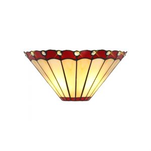 Lichfield Lighting St John Tiffany Wall Lamp, 2 x E14, Red/Credlock/Crystal photo 1