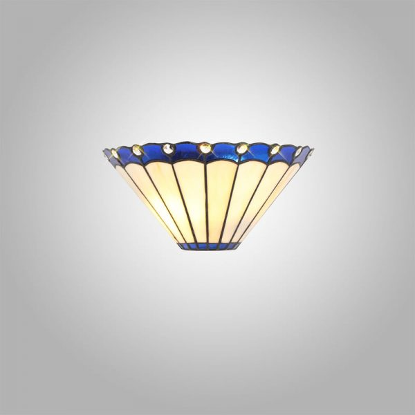 Lichfield Lighting St John Tiffany Wall Lamp, 2 x E14, Blue/Credlock/Crystal photo 3
