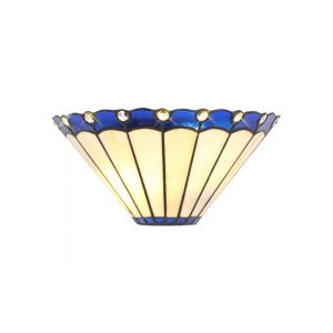 Lichfield Lighting St John Tiffany Wall Lamp, 2 x E14, Blue/Credlock/Crystal photo 1