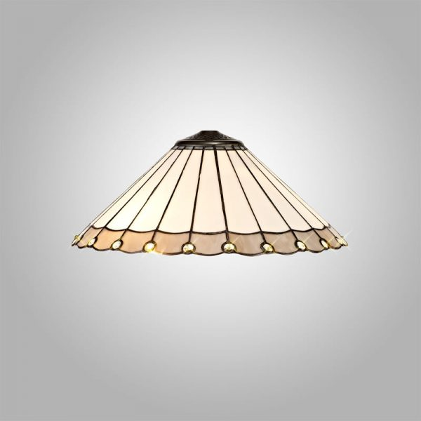 Lichfield Lighting St John Tiffany 40cm Shade Only Suitable For Pendant/Ceiling/Table Lamp, Grey/Credlock/Crystal photo 3