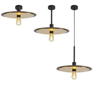 Lichfield Lighting Thacker Single 3 In1 Ceiling Flush, Semi-Fush & Pendant Light, 1 Light Adjustable E27, Black/Gold photo 1