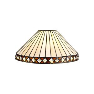 Lichfield Lighting Thistley Tiffany 30cm Non-electric Shade Suitable For Pendant/Ceiling/Table Lamp, Amber/Credlock/Crystal photo 1