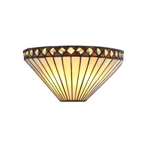 Lichfield Lighting Thistley Tiffany Wall Lamp, 2 x E14, Amber/Credlock/Crystal photo 1
