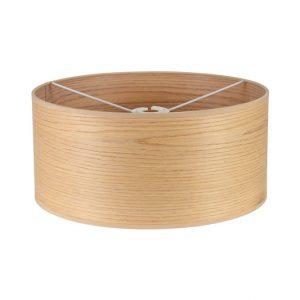 Lichfield Lighting Verdi Round, 395 x 180mm Wood Effect Shade, Light Oak/White Laminate photo 1