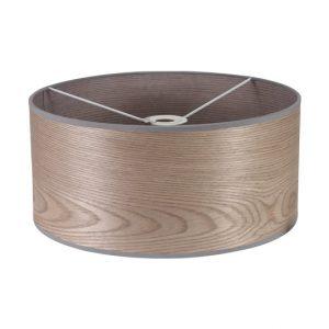 Lichfield Lighting Verdi Round, 395 x 180mm Wood Effect Shade, Grey Oak/White Laminate photo 1