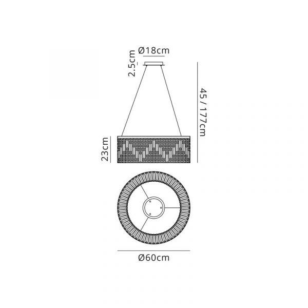 Lichfield Lighting Wharf 60cm Round Pendant Chandelier, 8 Light E14, Polished Chrome/Crystal Dimensions