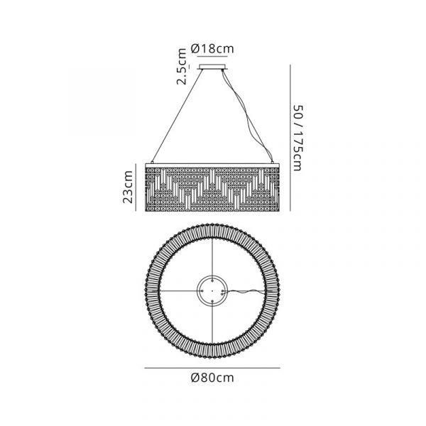 Lichfield Lighting Wharf 80cm Round Pendant Chandelier, 12 Light E14, Polished Chrome/Crystal Diemnsions