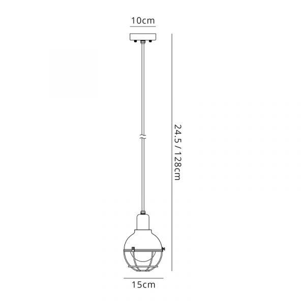 Lichfield Lighting Lomax Pendant, 1 Light E27, IP65, Matt Black/Brushed Bronze, 2yrs Warranty Dimensions