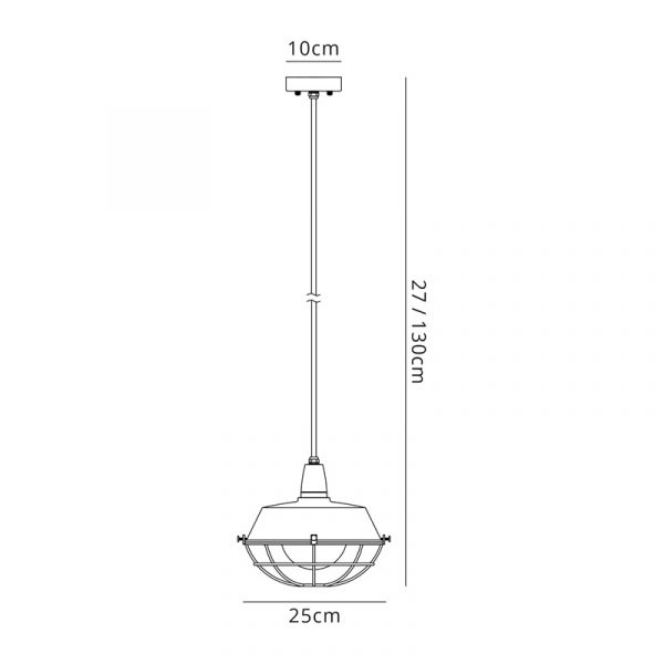Lichfield Lighting Karple Pendant, 1 Light E27, IP65, Matt Black/Antique Brass, 2yrs Warranty Dimensions