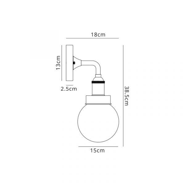 Lichfield Lighting Jordon Wall Lamp 1 Light E27 IP65 Exterior Lichfield Lighting Titanium Silver/Polished Chrome Dimensions